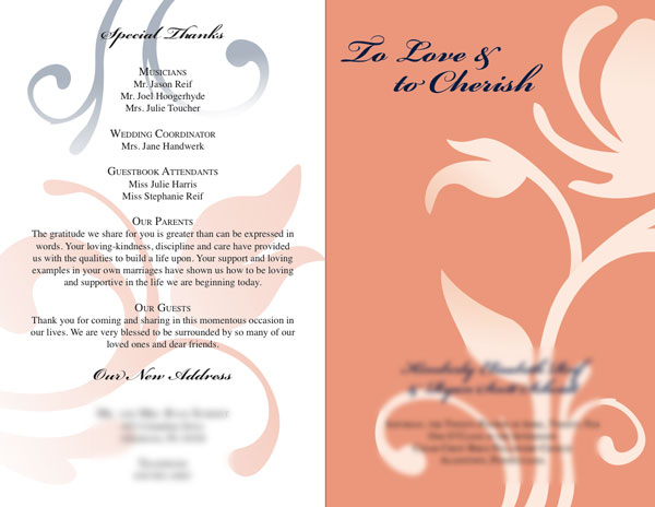 this was a wedding bulletin that implemented the colors of the bride and groom appereal it is simple clean and the sillhouetted flowers add a nice touch